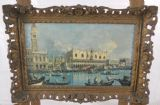 Canaletto Style Italian Scene in Pierced Gilt Frame
